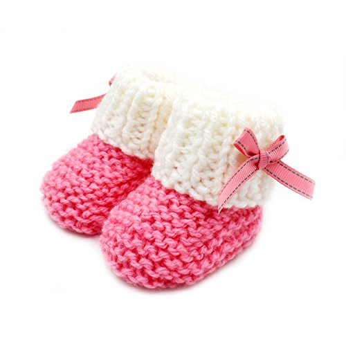 Pictures of Magic Needles Hand Knit Crochet Turkish Yarn Baby Booties - 4070 (3-6 Mths Toe to Heel 11 cms) Pink/White 3