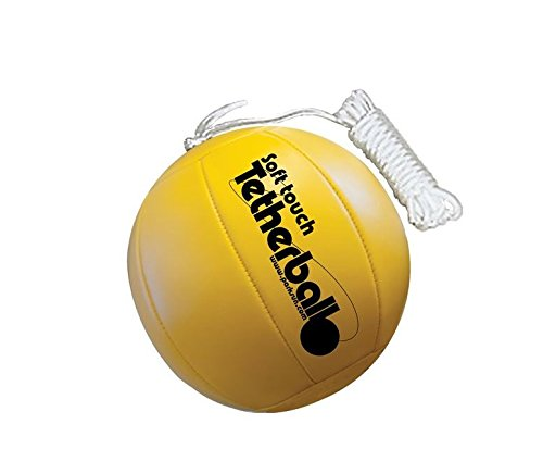Park & Sun Sports Soft Touch Tetherball with 7' Nylon Cord and Clip, Classic Yellow