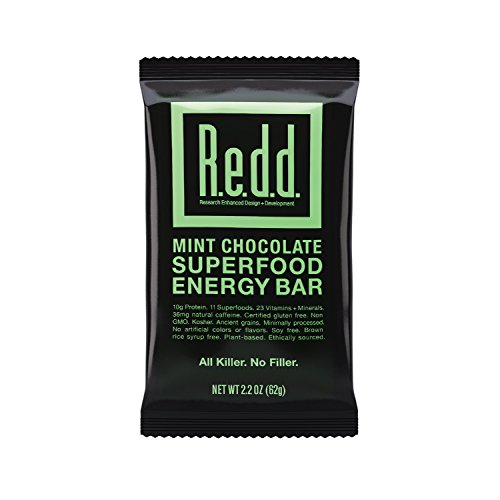Redd Gluten Free Vegan Superfood Energy Bar, Mint Chocolate, 12 Bars (Chocolate Bars Mint Cliff)