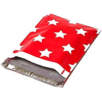 Poly Mailers Red Christmas Stars Designer Mailers Shipping Envelopes Red Boutique Custom Bags #SmileMail (100 10x13)