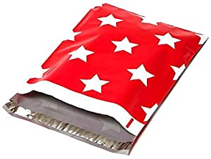 100 10x13 Red Stars Designer Poly Mailers Shipping Envelopes Boutique Custom Bags
