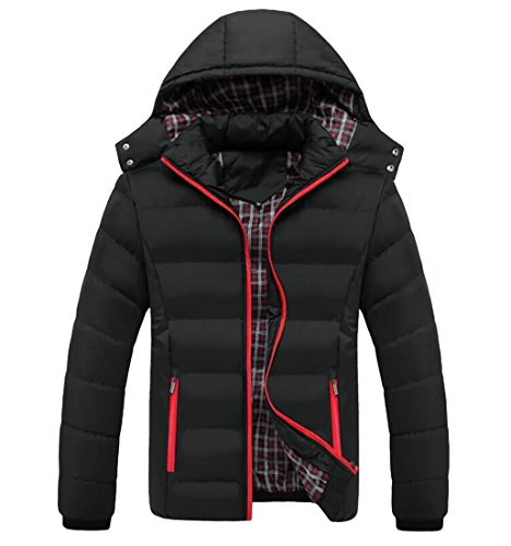 today-UK Men Winter Warm Jacket Zip Up Hoodie Down Coat Outerwear Parka Hooded Overcoat Black