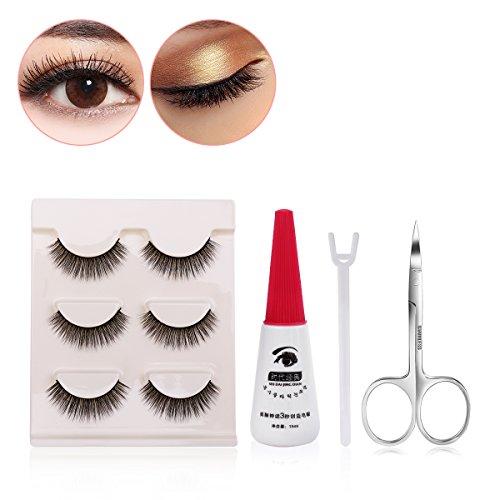 Frcolor False Eyelashes 3 Pairs , Eyelashes Adhesive Glue and False Eyelashes Eyebrow Scissors for Women (Eyelash Set)