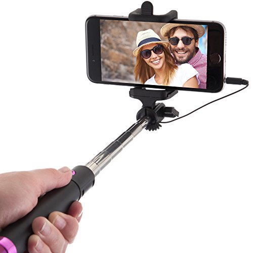 Power Theory Selfie Stick - Batterielose Selfie Stange ohne Bluetooth für iPhone 7 6s 6 Plus SE 5S 5C 5 Samsung Galaxy Android S7 S6 Edge S5 S4 S3 Note Mini GoPro Smartphone - Universal Monopod Stab mit AUX Kabel (Pink)