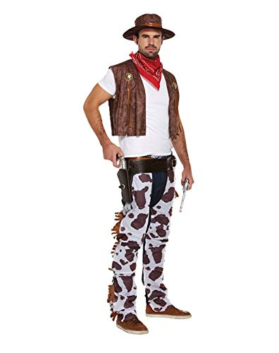MA ONLINE Adults Fancy Brown Cowboy Costume Mens Wild Western Hen Night Party Wear Outfit One Size -
