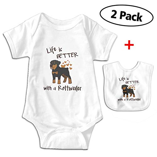 Love Life with Rottweiler Unisex Baby One-Piece Short-Sleeve Onesies Bodysuits ()