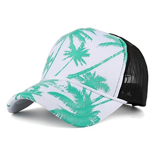 haoricu Baseball Hat, 2017 New Women Men Fashion Coconut Tree Printing Baseball Cap Summer Beach Ladies Snapback (Green)