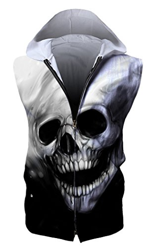 HOP FASHION Unisex Sleeveless Workout Skull Print Hoodie Tank Tops Zipper up Vest Tees with Front Pockets HOPM115-08-XL -