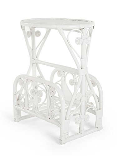 Kouboo Peacock Rattan Magazine Rack and Stand, White Color ()