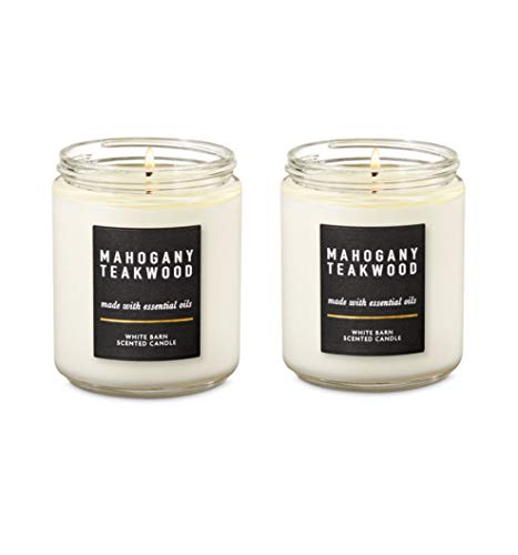 Bath and Body Works 2 Pack Mahoganny Teakwood Single Wick Candle. 7 Oz.