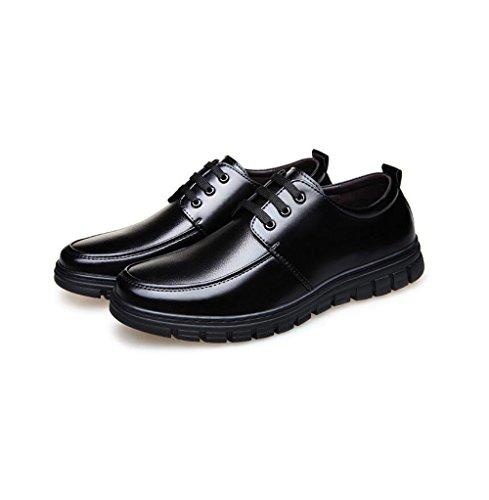 zmlsc Cuir Chaussures Hommes Casual Business Doux Arrondi Pointu Bande Printemps Été Automne Hiver Couleur Sports Black Ea2LDZV