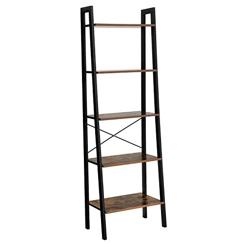 - VASAGLE Vintage Ladder Shelf, 5-Tier Bookcase, Plant Stand and Storage Rack Wood Look Accent Furniture with Metal Frame for Home Office ULLS45X