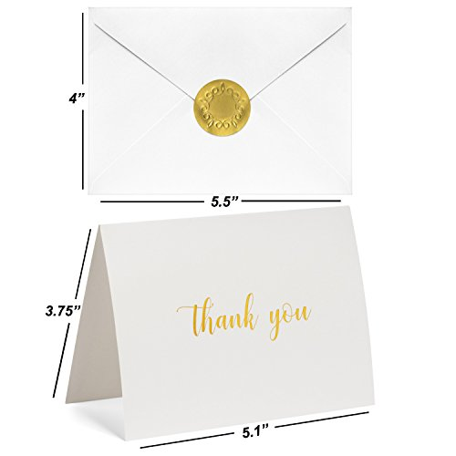 100 Thank You Cards Bulk - Gold Foil Letterpress Thank You Notes with Envelopes & Gold Sealing Stickers - Two Elegant Designs - Perfect for Baby Showers, Weddings, Graduations, Business - Blank Inside by Dayly Creations (Image #6)