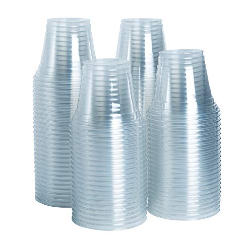 [100 Pack - 9 oz.] Crystal Clear Plastic Cups, Plastic Tumblers, Party Cups