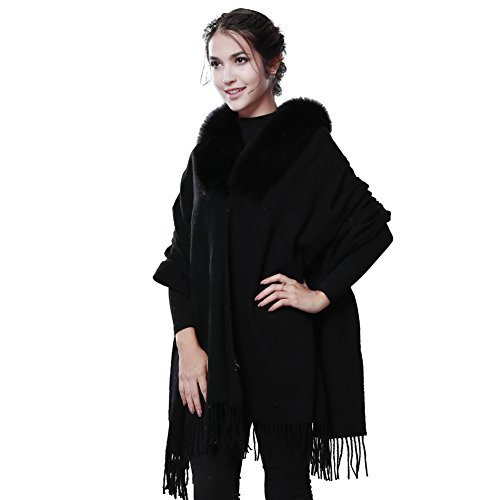 Winter Cashmere Wool Scarf Wrap - Oversized Real Fox Raccoon Fur Trimmed Shawl Scarves For Women FURTALK