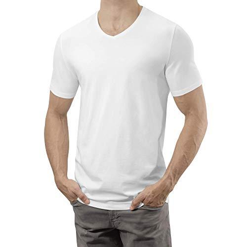 Lanky Llama Legends V-Neck T-Shirt | Fit for Tall Slim Men (Ivory White, Large Slim -