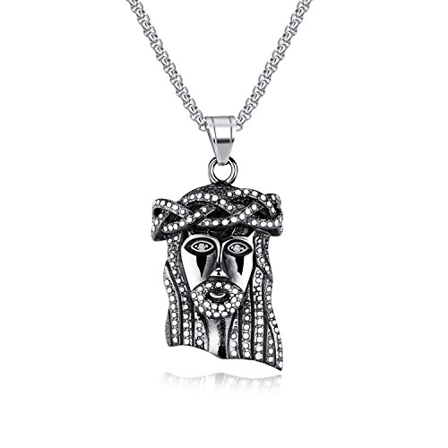 INSEA Men's Stainless Steel Metal Cathlic Christian Jesus Head Piece Hip Hop Pendant Necklace with 21.6