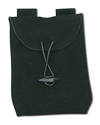 Petit sac poche en cuir noir fin 16 x12cm, LaRPS médiéval steampunk