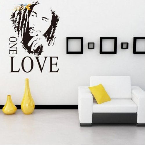 MZY LLC (TM) Bob Marley ONE LOVE Vinyl Art Mural Wall Sticker Home Decal Decor Room Music Fan Color: Black, Model: