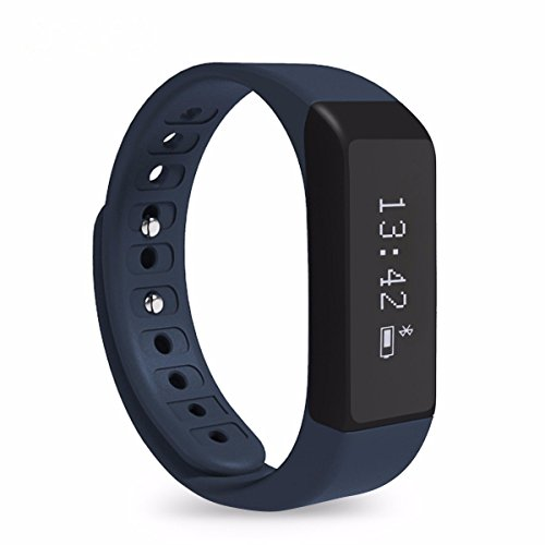 Oumeiou Stylish i5 Plus Bluetooth Smart Bracelet Smart Watch Sports Fitness Tracker For Smartphone Pedometer Tracking Calorie Health Sleep Monitor Free Fitness App for Android & IOS (Blue)