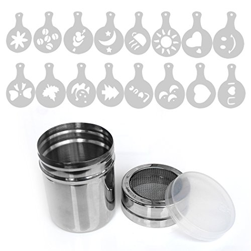 (Aoyoho Stainless Steel powder shaker Icing Sugar Powder Cocoa Flour Coffee Sifter Cooking Tools Lid Chocolate Shaker Cocoa with 16 Pieces Coffee Art Stencils)