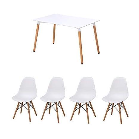 Joolihome Set di Tavolo e sedie da Pranzo Diningroom in Legno Bianco ...