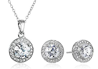 Sterling Silver Cubic Zirconia Halo Pendant Necklace and Stud Earrings Jewelry Set
