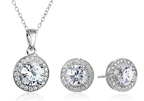 Sterling Silver Cubic Zirconia Halo Pendant Necklace and Stud Earrings Jewelry Set - http://coolthings.us