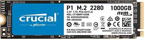 Crucial P1 CT1000P1SSD8 Interne SSD, 1 TB, 3D Nand, NVMe, PCIe, M.2, Zwart