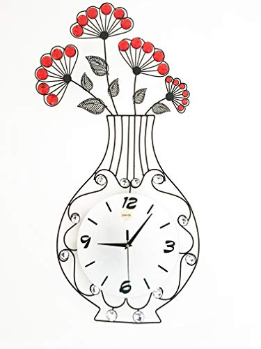 Meida Metal Crystal Flower Vase Wall Clock (vase)