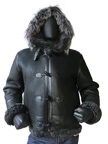 Men B-3 Genuine Shearling Leather Bomber Jacket Winter Aviator Coat Real Fur Hood and wood toggle closure (Large, (Black Leather Shearling Coat)