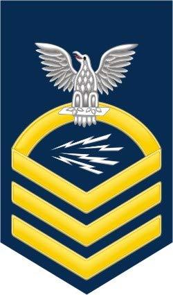 - US Navy Chief Gold E-7 Radioman RM Military Veteran Served Window Bumper Sticker Vinyl Decal 3.8