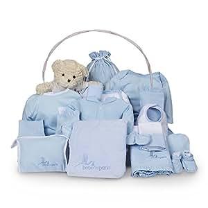 Canastilla regalo bebé Clásica Ensueño BebeDeParis-Azul- cesta regalo recién nacido