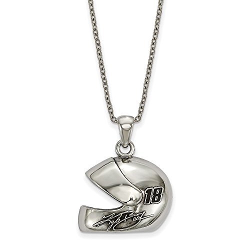 Roy Rose Jewelry NASCAR Stainless Steel LogoArt 3-D Racing Driver Helmet with Driver # 18 & Signature 18'' Chain Necklace
