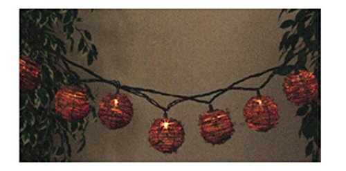 GERSON 2201200 FS 10-Light Rattan Light Set (Set String 10 Rattan Ball Lights)