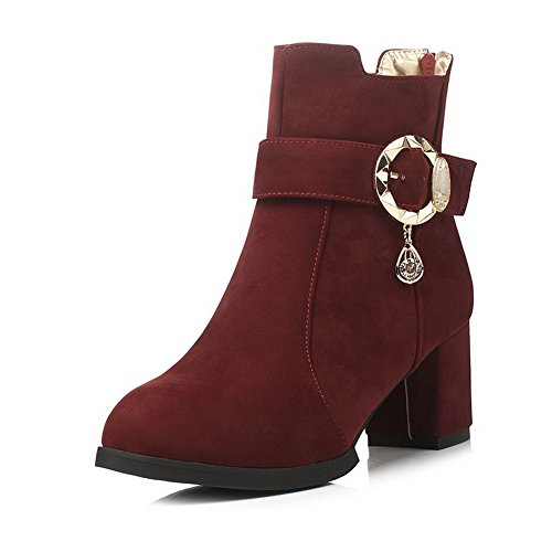 Allhqfashion Women's Solid Kitten Heels Round Closed Toe Imitated Suede Zipper Boots Claret