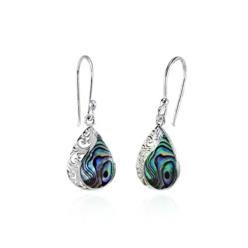 Sterling Silver Abalone Polished Filigree Teardrop, used for sale  Delivered anywhere in USA