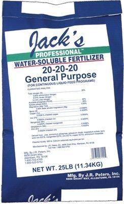 Jacks Prof 77010 General Purpose Fertilizer, 20-20-20 Fertilizer, 25-Pound by JR Peters