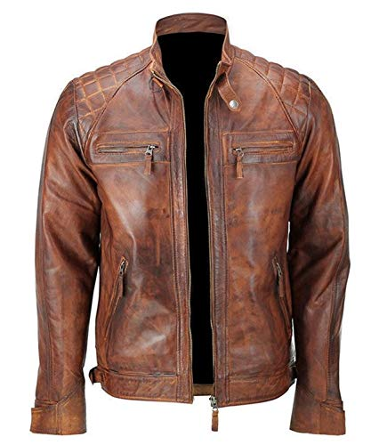 Mens Distressed Brown Classic Diamond Leather Jacket (3XL- fit for 49-50 inches Actual Chest)
