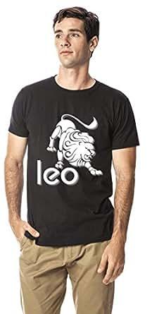 Leo zodiac sign cotton round neck tshirt, Black XL