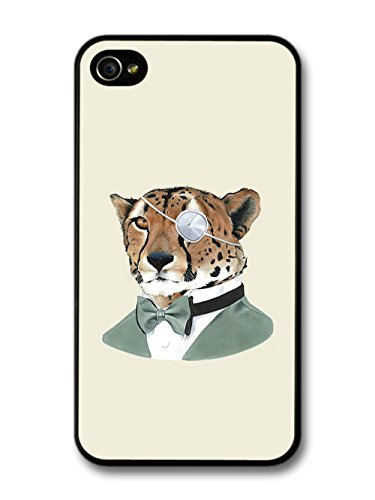 Cheetah in Suit Bowtie Eye Patch Funny Animal Hipster Illustration coque pour iPhone 4 4S