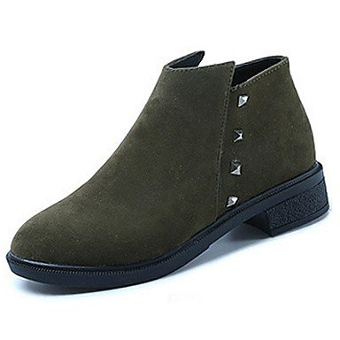 Nubuck Round Women'S Boots Pu EU38 UK5 US7 Boots Fashion Casual Green Leather 5 Boots 5 CN38 Comfort Heel RTRY Mid Toe Black Fall Shoes Low Calf For EqwdznC7