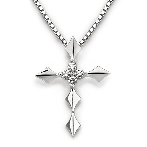 18K White Gold Religious Cross Cluster Diamond Pendant W/925 Sterling Silver Chain (0.08ct,G-H Color,SI1-SI2 Clarity)