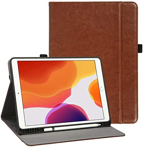 iPad 7th Generation CasePencil Holder Happiere Premium PU Leather Folio Cover for Apple iPad 10.2 inch Retina Display Auto Wake and Sleep Magnetic Closure Multiple Viewing Angles Stand Case