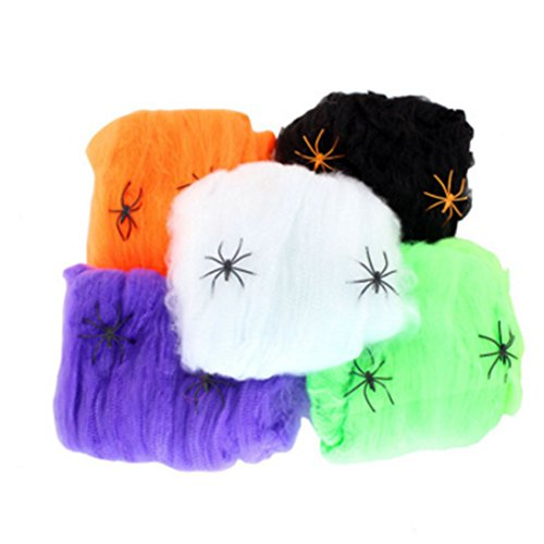 CiCy Halloween Spider Webs Spiderwebs With Plastic Spiders - 5 Packs,Halloween Party -