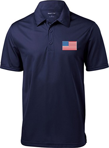 Mens US Flag (Pocket Print) Textured Polo Shirt, Navy, Large ()