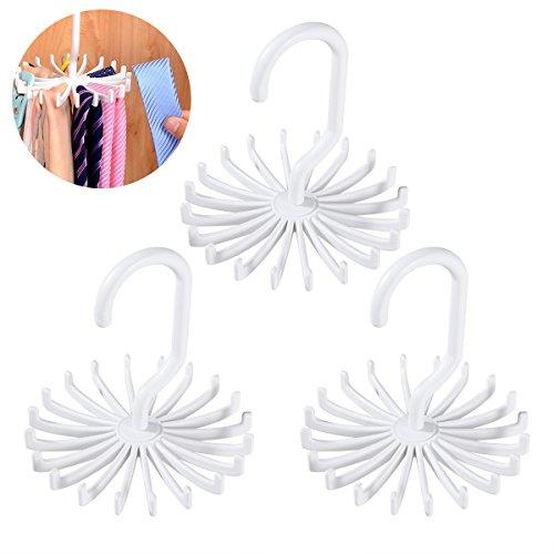 Tinksky Tie Rack Belt Hanger Scarf Holder Hook for Closet Organizers, 360 Degree Rotating 20 Hooks, 3 Pack (White)