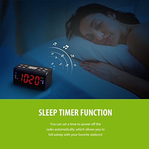 -[ Mpow Radio Alarm Clock, FM / AM Digital Alarm Clock Radio Bedside Alarm Clocks with Dual Alarms,