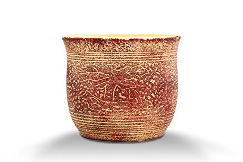 VanEnjoy Vintage Mediterranean Style Ceramic Succulent Pot, Red Black Series Matte Unglazed, Indoor Home Decoration Cactus Flower Bonsai Pot Planter Container (1, A) (5.0