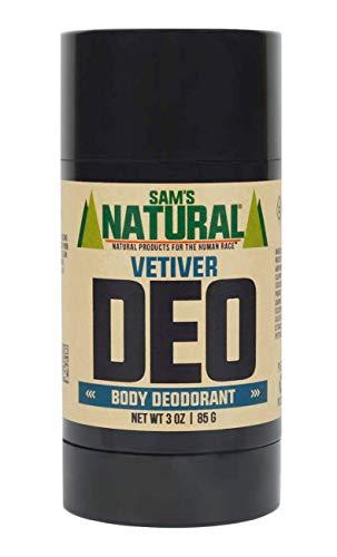 Sams Natural Deodorant Stick - Vetiver, Aluminum Free, Vegan, Cruelty Free, 3 oz